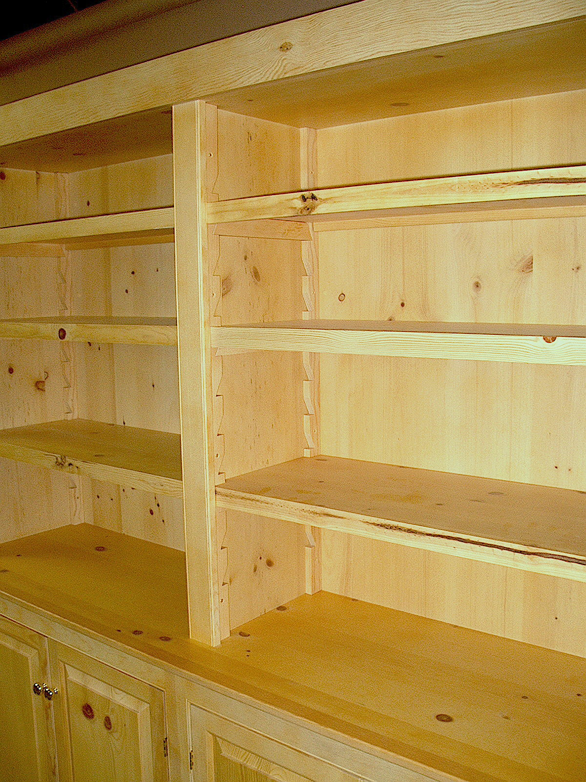knotty pine bookcases